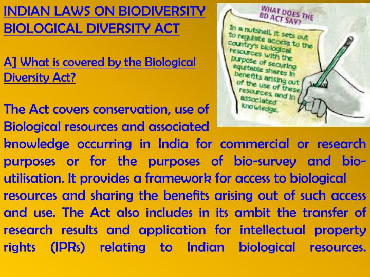 INDIAN LAWS ON BIODIVERSITY