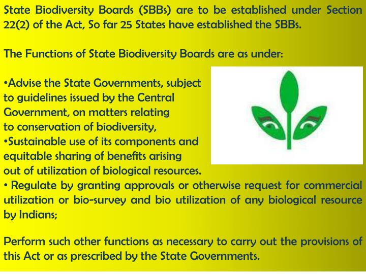 State Biodiversity Boards (SBBs) are to be established under Section 22(2) of the Act, So far 25 States have established the SBBs.