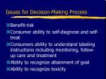 issues for decision making process