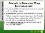 concepts to remember when entering an event
