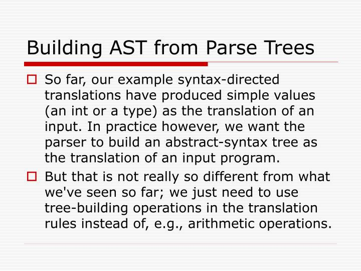 Building AST from Parse Trees