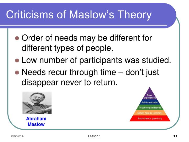 Criticisms of Maslow's Theory