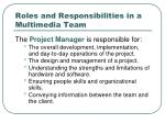 roles and responsibilities in a multimedia team