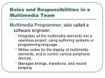 roles and responsibilities in a multimedia team7