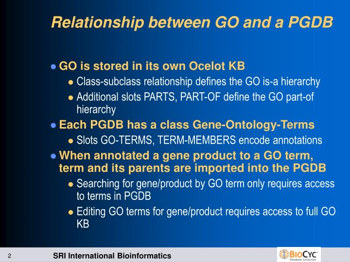 Relationship between go and a pgdb