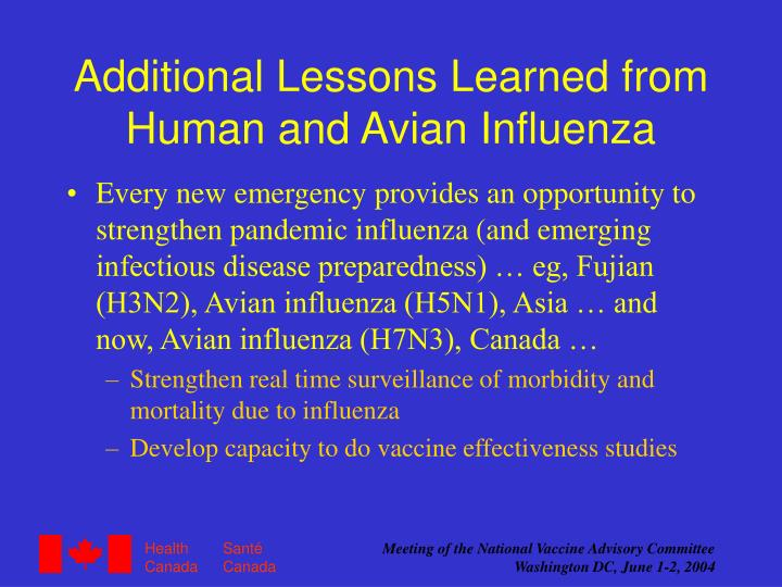 Additional Lessons Learned from  Human and Avian Influenza