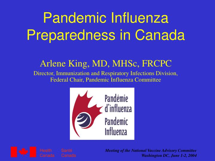 pandemic influenza preparedness in canada n.