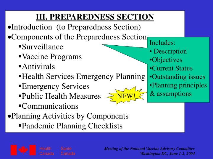 III. PREPAREDNESS SECTION
