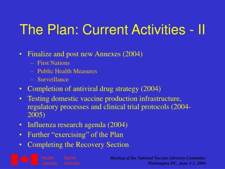 The Plan: Current Activities - II
