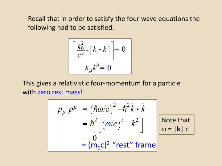 Recall that in order to satisfy the four wave equations the