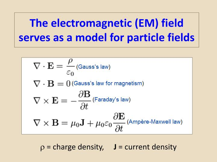 The electromagnetic em field serves as a model for particle fields
