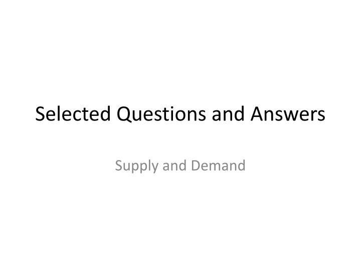 selected questions and answers n.