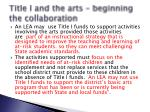 title i and the arts beginning the collaboration3