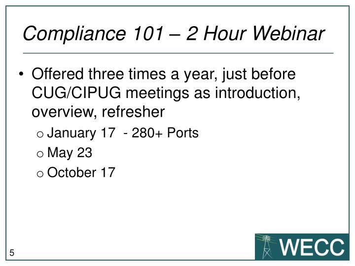 Compliance 101 – 2 Hour Webinar