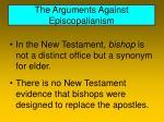 the arguments against episcopalianism