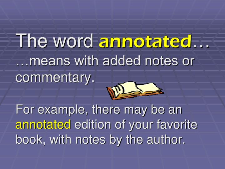 what does annotated mean for books