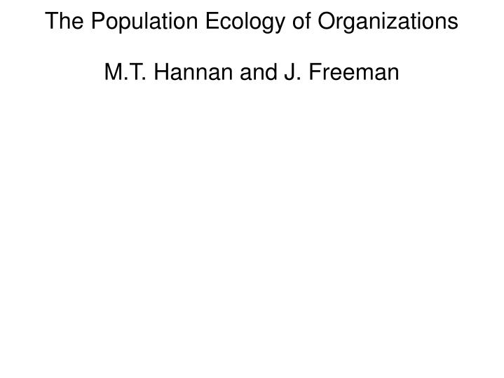 the population ecology of organizations