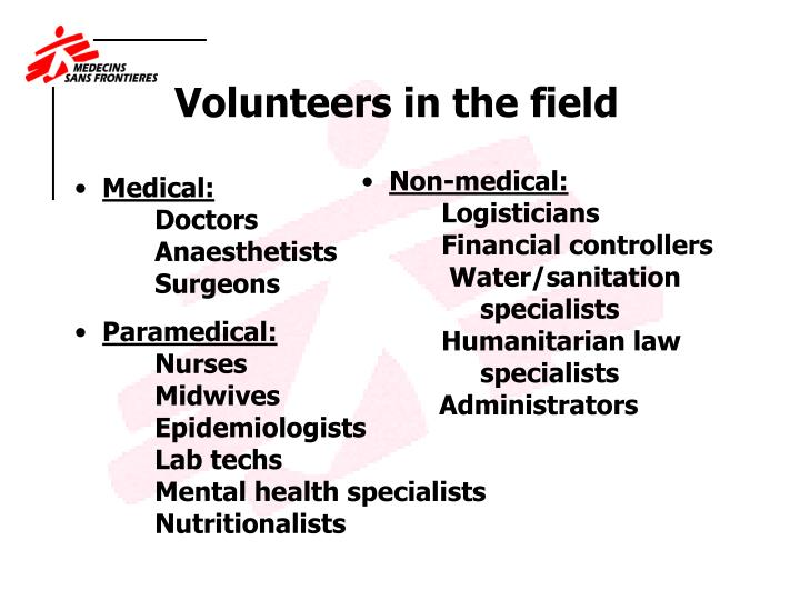 Volunteers in the field