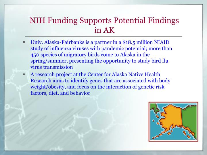 NIH Funding Supports Potential Findings in AK