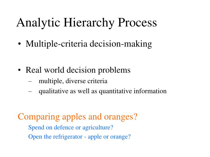 analytic hierarchy process n.