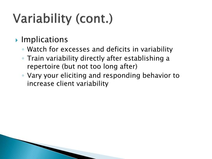 Variability (cont.)