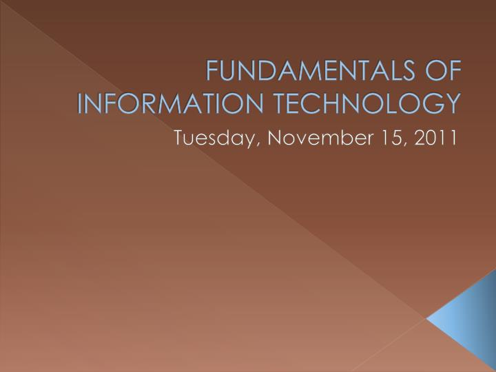 fundamentals of information technology n.