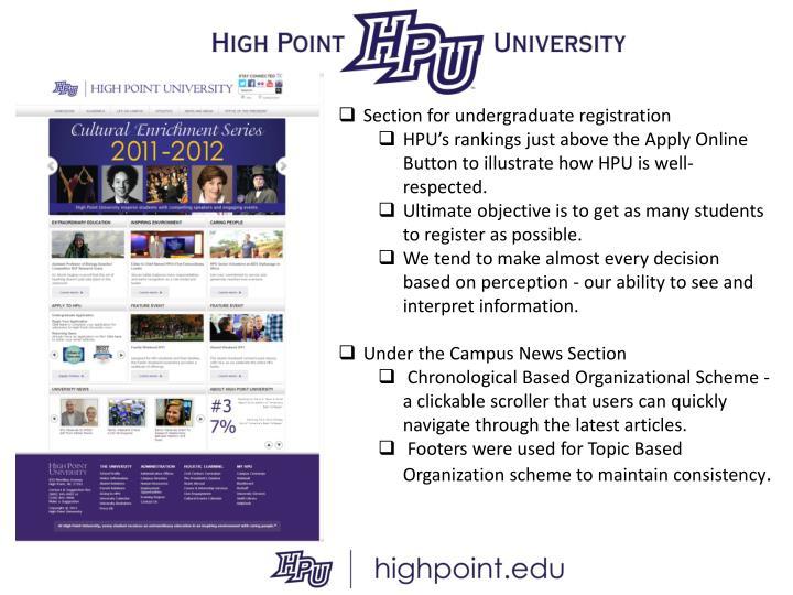 Section for undergraduate registration