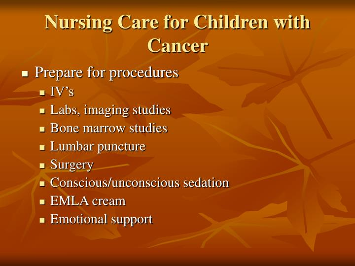 Nursing Care for Children with Cancer