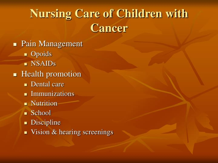 Nursing Care of Children with Cancer