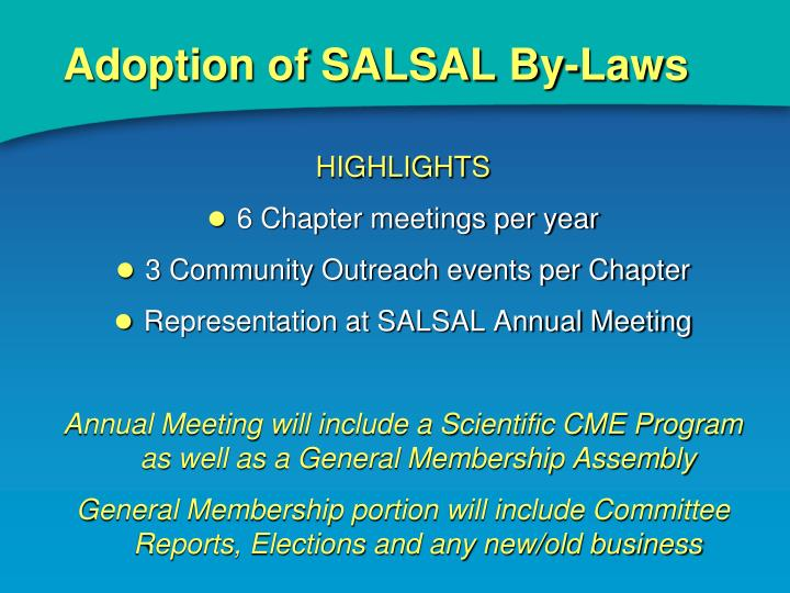 Adoption of SALSAL By-Laws