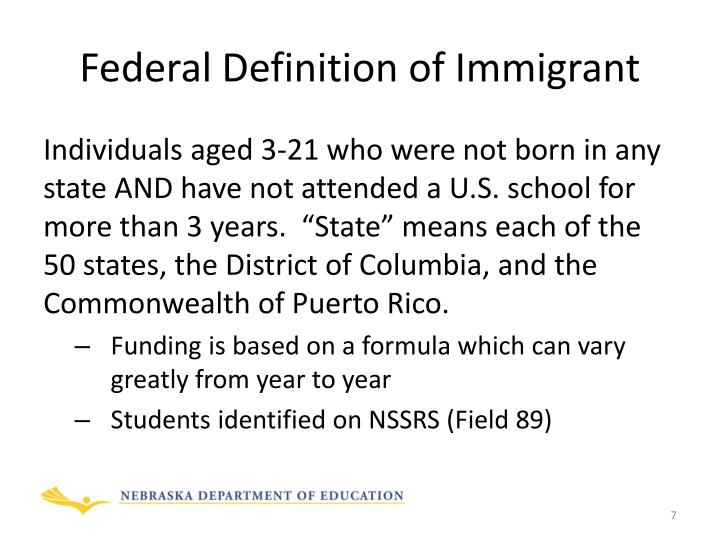 Federal Definition of Immigrant