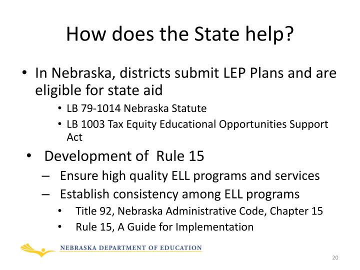 How does the State help?