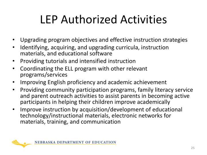 LEP Authorized Activities
