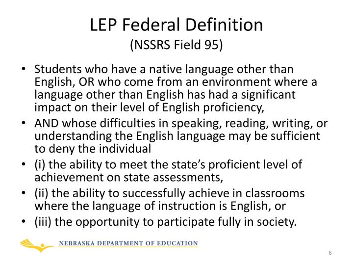 LEP Federal Definition