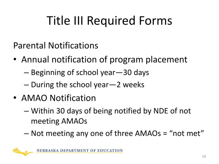 Title III Required Forms