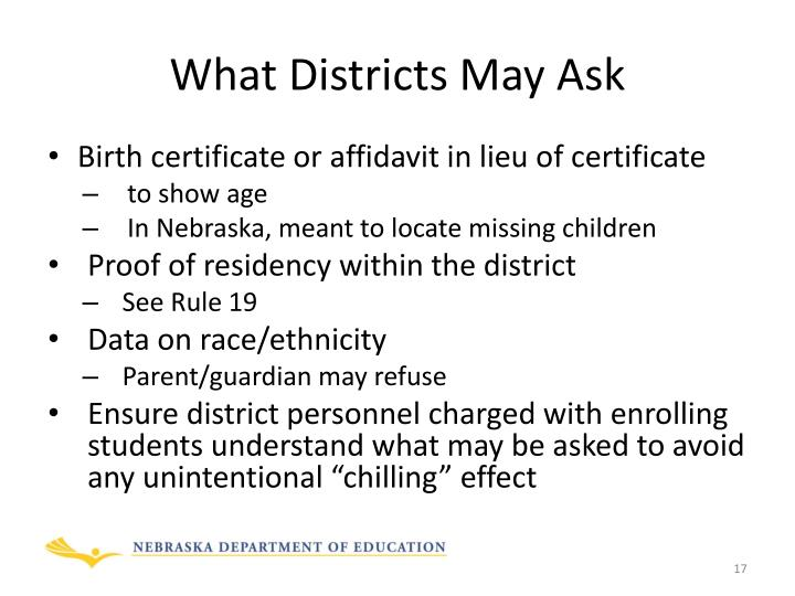 What Districts May Ask