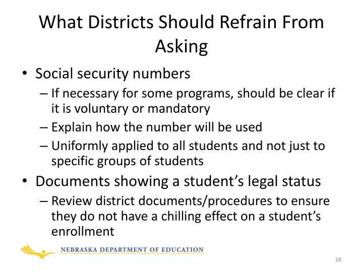 What Districts Should Refrain From Asking