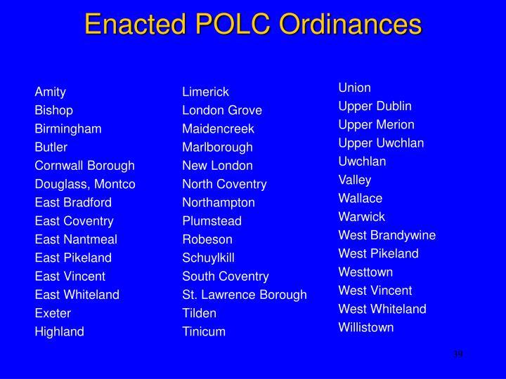 Enacted POLC Ordinances