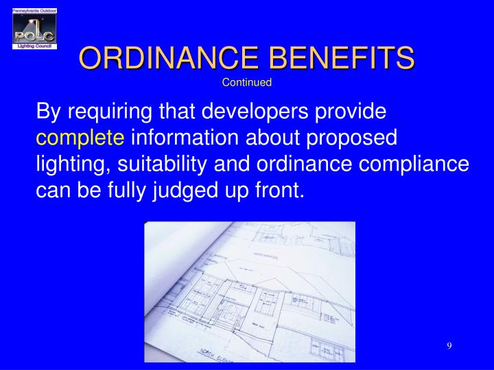 ORDINANCE BENEFITS