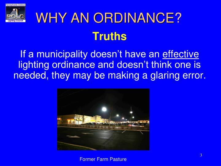 Why an ordinance
