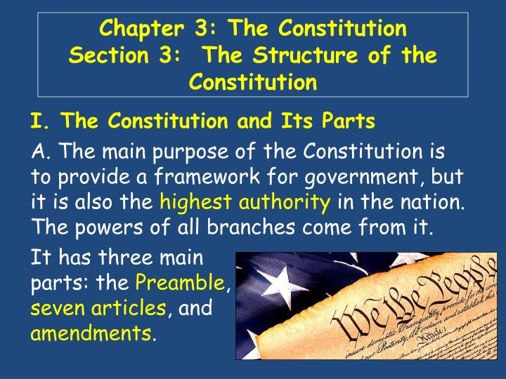 chapter 3 the constitution section 3 the structure of the constitution n.