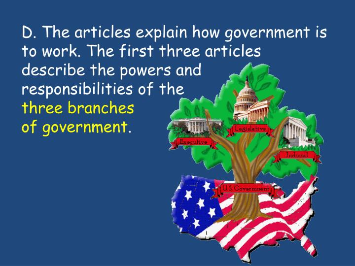 the first three articles of the Article i - the legislative branch article i, section 1 establishes the legislature -- congress -- as the first of the three branches of government.