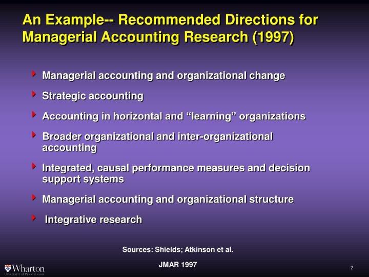 An Example-- Recommended Directions for Managerial Accounting Research (1997)