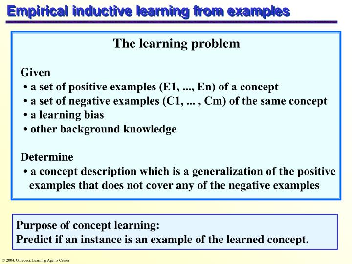 Empirical inductive learning from examples