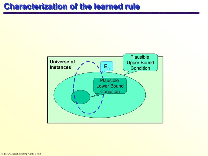 Characterization of the learned rule