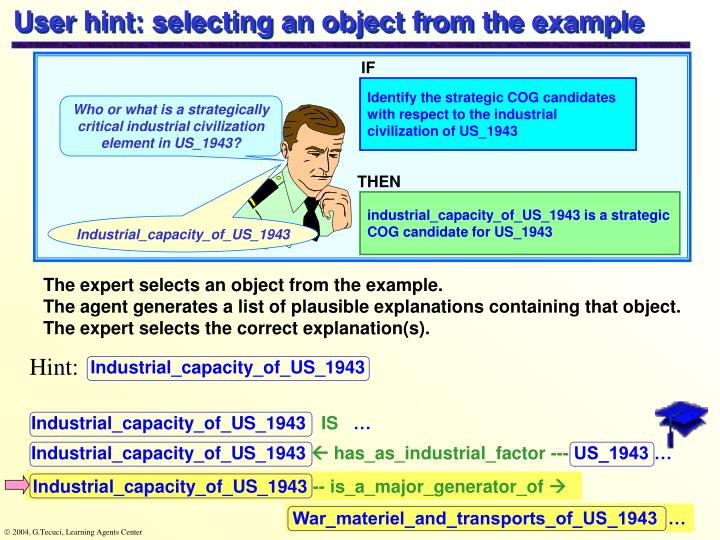 User hint: selecting an object from the example
