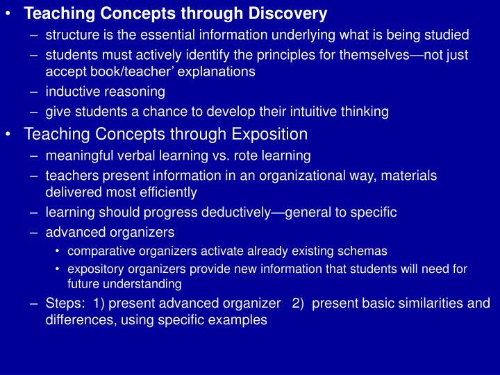 Teaching Concepts through Discovery