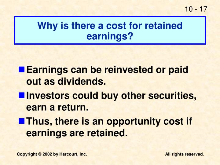 cost of retained earnings In this case, if the cost of debt is lower than the cost of equity, the wacc weighted average cost of capital will be lower as a result this is an important concept to understand since the cost of capital of a firm is weighted by the amount of each component, adjustments made to the size of each component can change the wacc.
