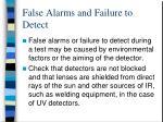 false alarms and failure to detect
