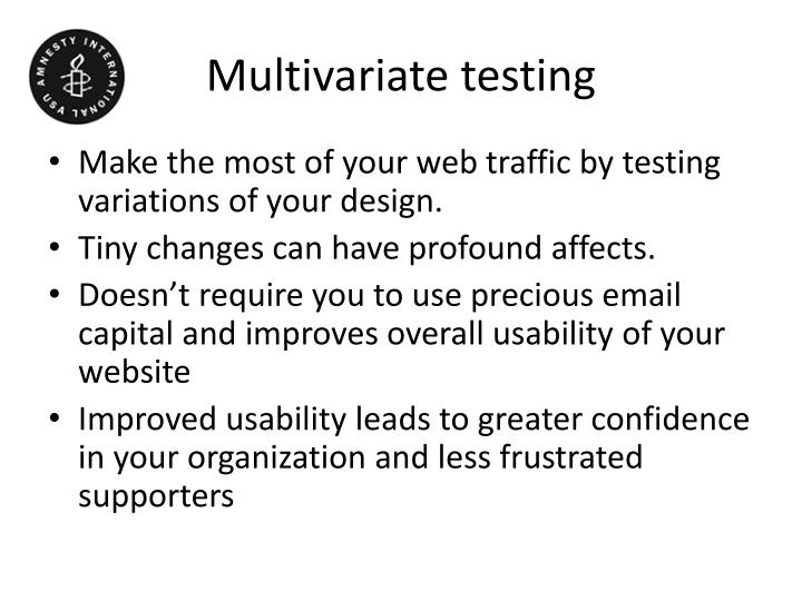 Multivariate testing